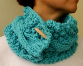 Turquoise Blue Cable Chunky Knit Cowl Neck Warmers Scarf With Buttons