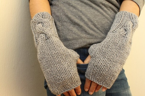Grey Warm Cable Knitted Fingerless Gloves - Choose Your Color