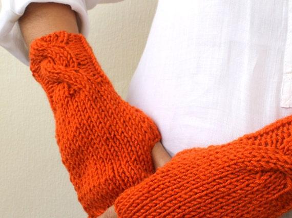 Winter Accessories -  Burnt Orange Fingerless Mittens Gloves