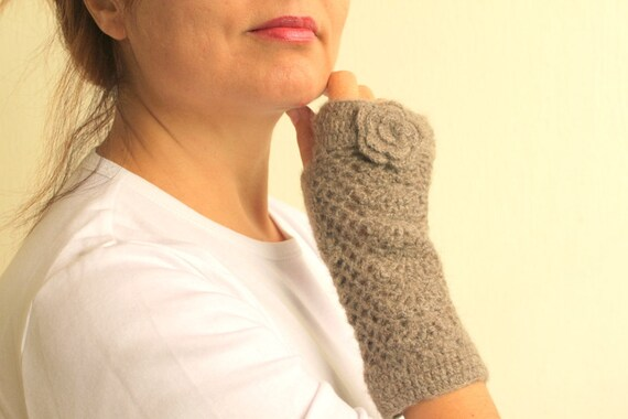 Winter Accessories - Taupe Grey Gray Crochet Lace Fingerless Gloves Armwarmer Women