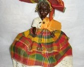 Antique Vintage African doll in Native Outfit African American Black History month collectible plaid headdress plastic 50s 60s souvenir