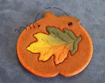 Pumpkin Made of Cinnamon with Fall Leaf