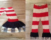 Fourth of July Ruffle Leggings, girls 4th of July outfit - Fourth of July Leggings 12m/18m, 2t, 3t, 4t, 5, 6, 7/8, 9/10
