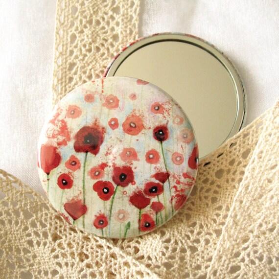 Pocket mirror - Poppies Field