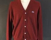 Vintage Mens Lacoste Cardigan Sweater Maroon Indie - Large