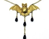 Steampunk BAT NECKLACE Jewelry - Gothic Vampire Morticia Addams Adams Family Halloween Necklace Costume