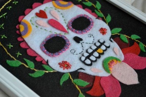 Embroidered Felt Sugar Skull Portrait