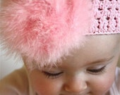 Knitted Pom Pom Marabou Headband Pink
