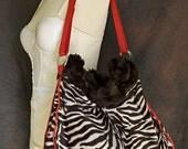 Sophia L. Faux Zebra Fur Expandable Shoulder Bag