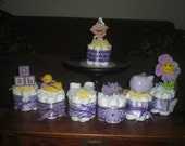 Purple DiaperCake Baby Shower Centerepieces 20 designs and different toppers