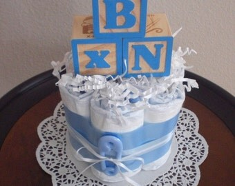 Baby Block Diaper Cake baby shower centerpieces blue and brown other colors and sizes too