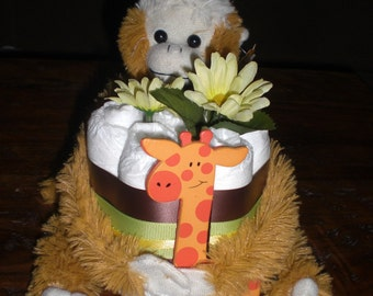 Jungle Monkey Mini Diaper Cake Baby Shower Centerpiece other colors too