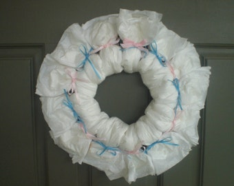 Diaper Cake Wreath Baby Shower  Diaper Wreath you choose colors