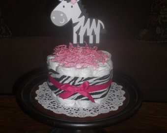 Zebra or damask or polka dots leopard  Hot Pink and black Baby Shower Centerpieces Diaper Cake bundt cakes other topers and styles too