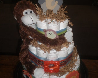 Monkey DiaperCake Jungle Theme Baby Shower Centerpiece or gift elephant available and other ribbon colors too