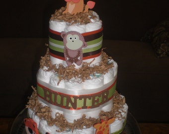 Safari Jungle Theme Diaper Cake Personalized Baby Shower Centerpiece other colors and sizes too