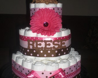 Pink and Brown Polka Dot personalized Diaper Cake Baby Shower Centerpiece or gift other sizes and colors too