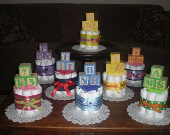Baby Block Baby Shower Centerpiece Diaper Cakes and more other colors and sizes too