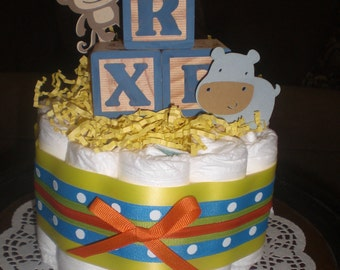 Jungle Monkey Safari Block Diaper Cake Baby Shower Centerpieces other colors and sizes too