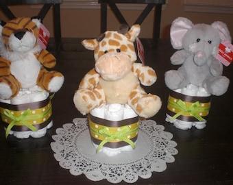Monkey Jungle Safari Diaper Cake Baby Shower Centerpieces