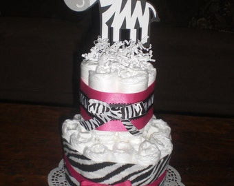 Zebra and Hot Pink Baby Shower Centerpieces DiaperCake also mini cakes