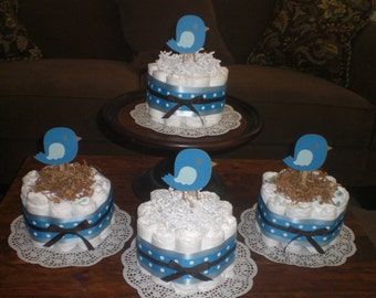 Bird Baby Shower Diaper Cake Centerpieces other colors, toppers and sizes too