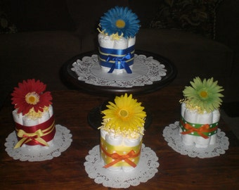 Flower Baby Shower Centerpieces Primary colors mini diaper cakes different colors and sizes available too