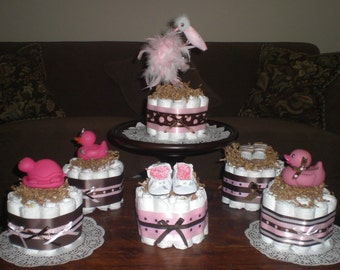 Pink and Brown Baby Shower Centerpiece Mini and Bundt Diaper Cakes 20 plus designs other colors too