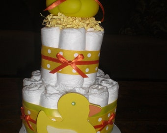 Yellow and white DIAPER CAKE baby shower centerpiece Other Toppers and sizes TOO