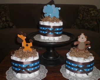 Safari Jungle  Monkey Diaper Cakes Zebra Diaper Cakes Baby Shower Centerpieces other colors and sizes too