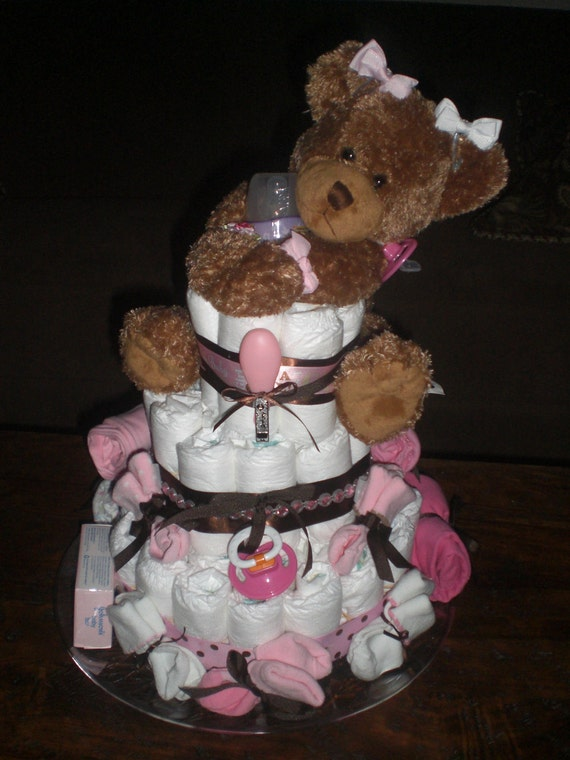 Bears and Bows Baby Girl or Boy Diaper Cake Pink and Brown Shower Gift other toppers and colors too.