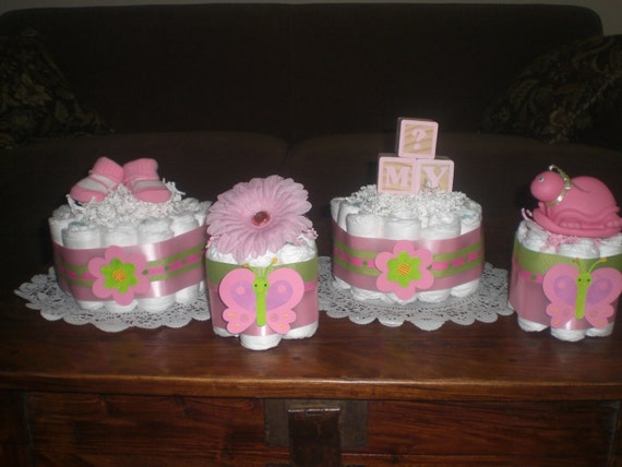 Items similar to pink and green baby shower centerpieces for Baby shower diaper decoration
