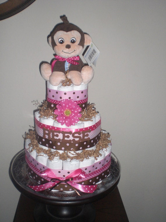 Monkey Girl Diaper Cake Baby Shower Centerpieces Gift other sizes too