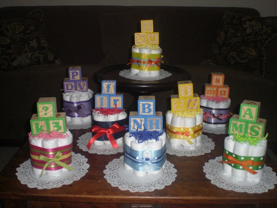 Items similar to baby block baby shower centerpiece diaper for Alphabet blocks cake decoration
