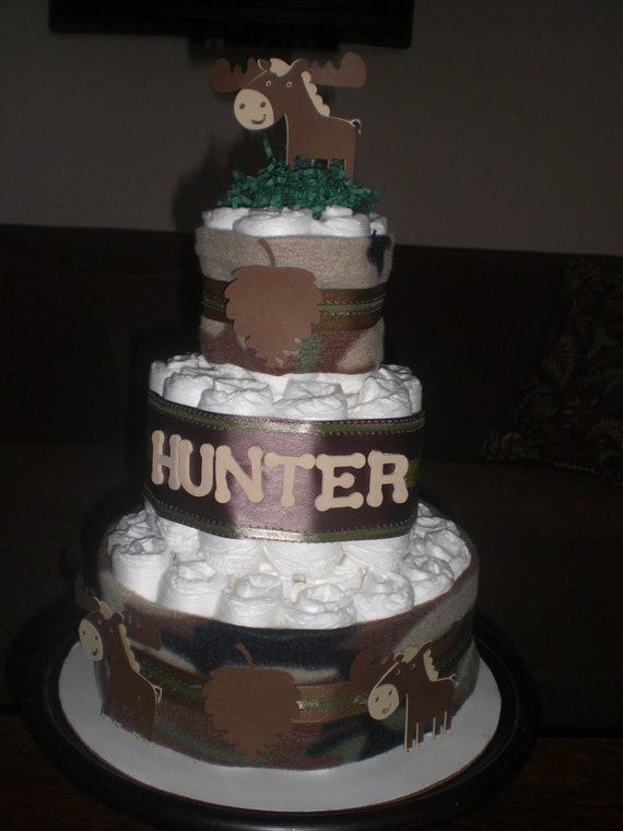 Hunting Camoflage Army Diaper Cake Baby Shower Centerpiece or gift other ribbon colors too