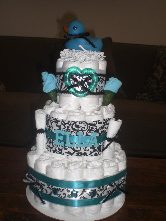 Damask Personalized Diaper cake Baby Shower Centerpiece Gift in other sizes and colors too