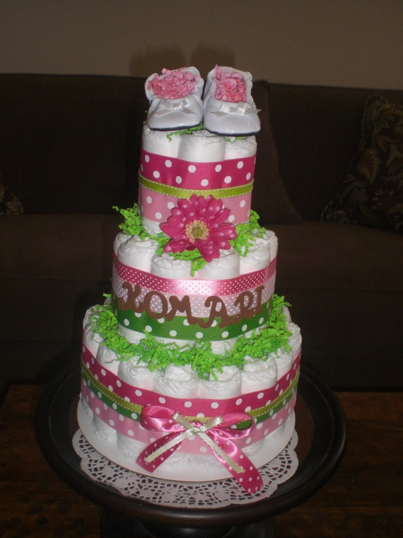 Pink and green girl diaper cake baby shower centerpieces gift for Pink diaper bouquet