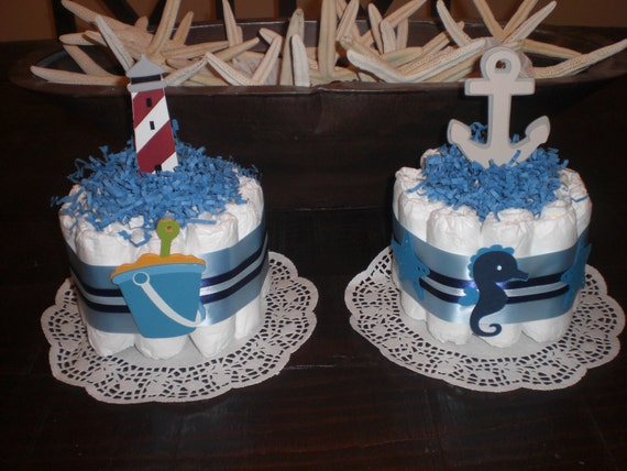 nautical beach diaper cake baby shower centerpiece sailboats