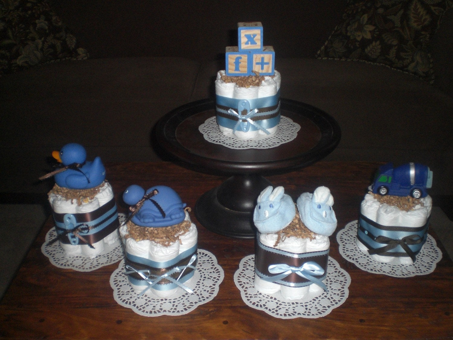 Blue and brown baby boy shower by bearbottomdiapercakes on Baby boy shower centerpieces for tables