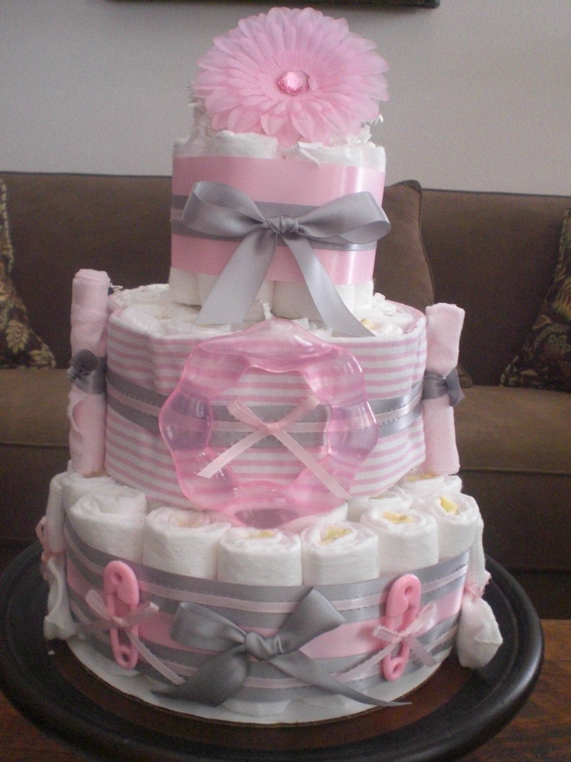 Pink and grey diaper cake baby shower centerpiece other for Baby shower decoration diaper cake