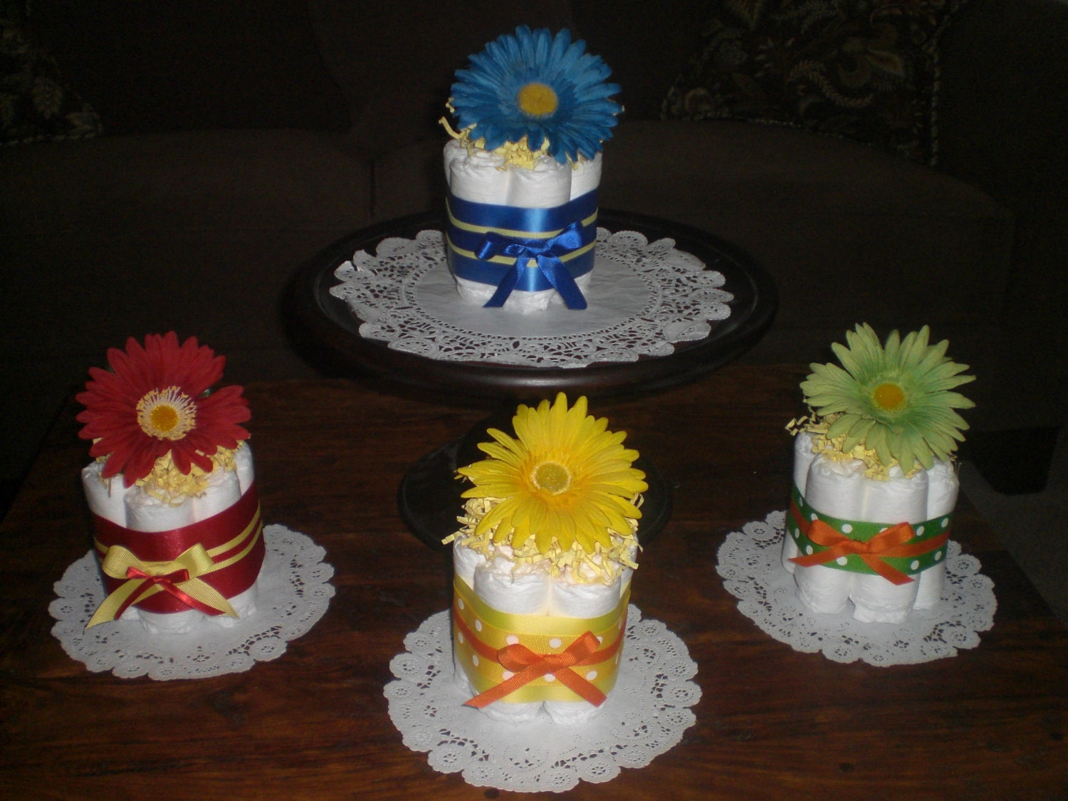 Cake Centerpieces For Baby Shower : Flower Baby Shower Centerpieces Primary colors mini diaper
