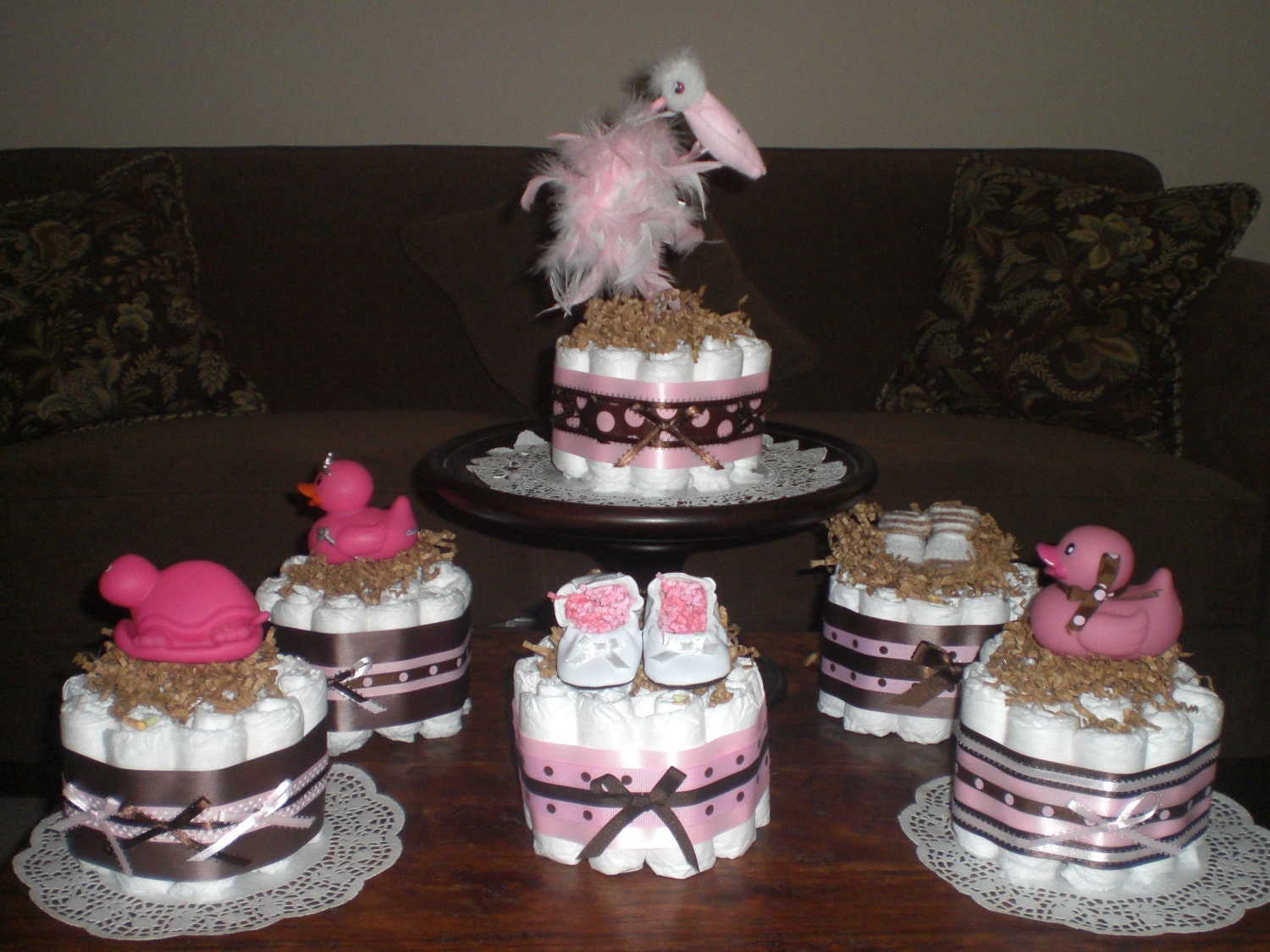 pink and brown baby shower centerpiece mini and bundt diaper