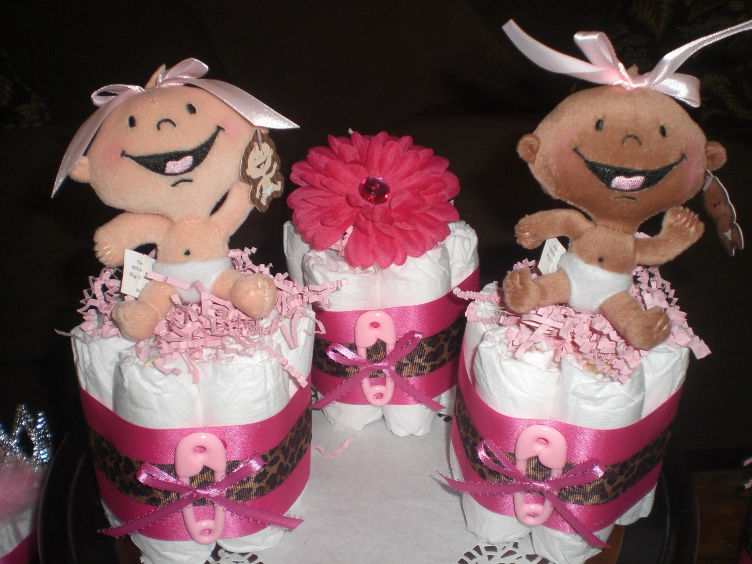 Leopard Or Cheetah Mini Diaper Cake Baby Shower Centerpieces