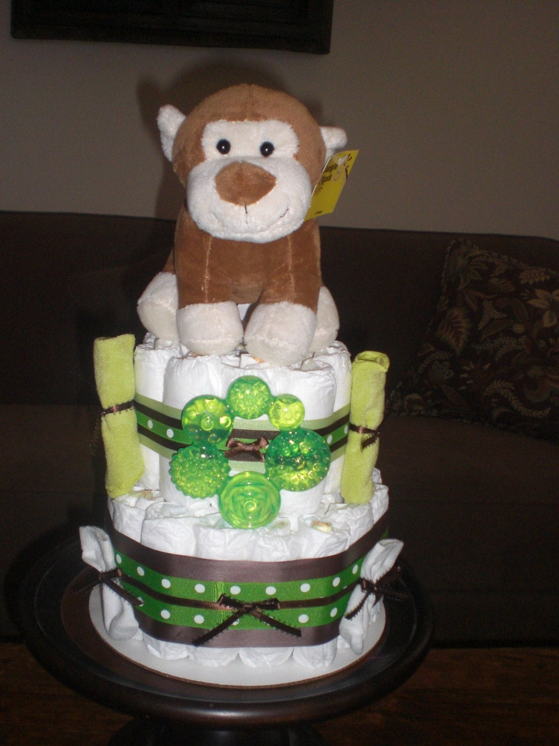 Monkey diaper cake jungle theme baby shower centerpiece or - Baby shower monkey theme cakes ...