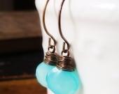 Caribbean Glow - Earrings  - Aqua Turquoise Chalcedony