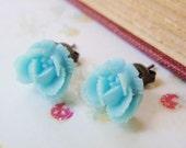 Rose in Baby Blue - Earrings