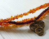 Love is The Breath of Life - Magdalene - Necklace / Russian Gold Amber , Garnet