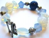 Night Sky - Bracelet / Lapislazuli, Moonstone , Blue Agate, Artisan Silver