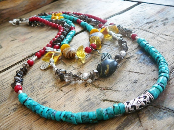 In-Joy the Spiral Dance of Life - Necklace / Silver,Turquoise,Smoky  Quartz , Bamboo Coral, Amber