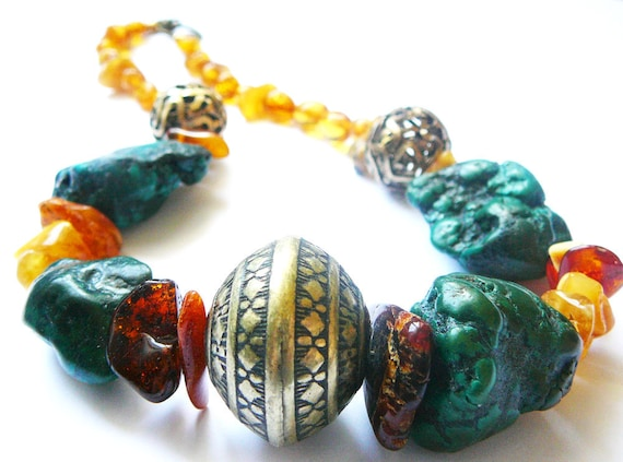 Walk in Beauty With The Ancient Ones - Necklace / Amber and Turquoise